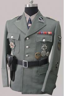 ナチス軍服SD開襟制服、上下セット、レプリカ